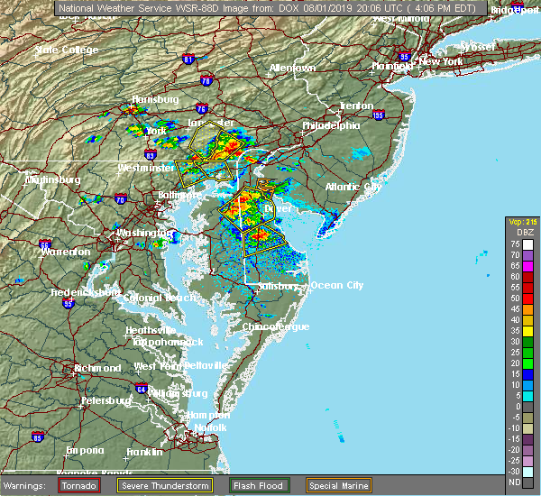Radar Image for Severe Thunderstorms near Dover, DE at 8/1/2019 4:09 PM EDT