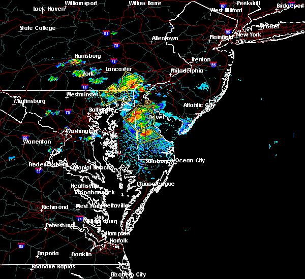 Radar Image for Severe Thunderstorms near Harrington, DE at 8/1/2019 4:22 PM EDT
