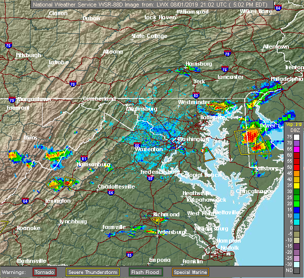 Radar Image for Severe Thunderstorms near Mount Sidney, VA at 8/1/2019 5:07 PM EDT