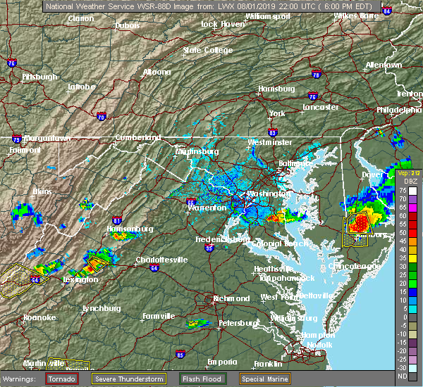 Radar Image for Severe Thunderstorms near St. Leonard, MD at 8/1/2019 6:04 PM EDT