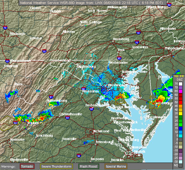 Radar Image for Severe Thunderstorms near St. Leonard, MD at 8/1/2019 6:21 PM EDT