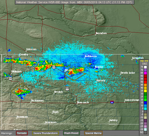 Radar Image for Severe Thunderstorms near Towner, ND at 8/4/2019 11:20 PM CDT