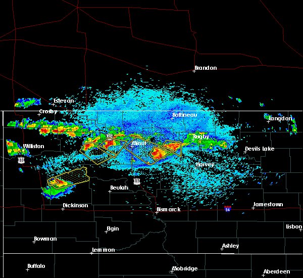 Radar Image for Severe Thunderstorms near Des Lacs, ND at 8/4/2019 11:45 PM CDT