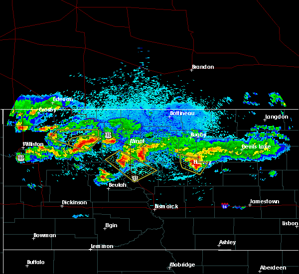 Radar Image for Severe Thunderstorms near Harvey, ND at 8/5/2019 12:50 AM CDT
