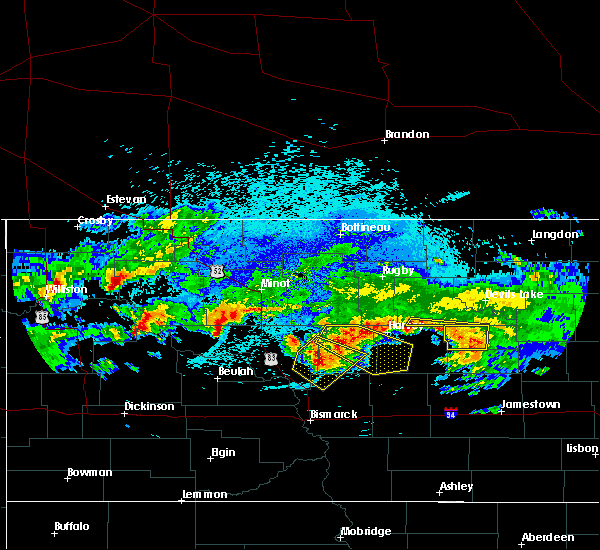 Radar Image for Severe Thunderstorms near New Rockford, ND at 8/5/2019 1:52 AM CDT