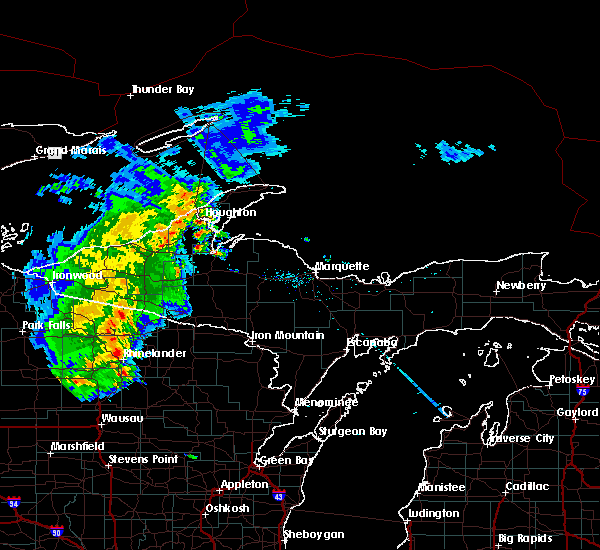Radar Image for Severe Thunderstorms near Rhinelander, WI at 8/5/2019 1:05 PM CDT