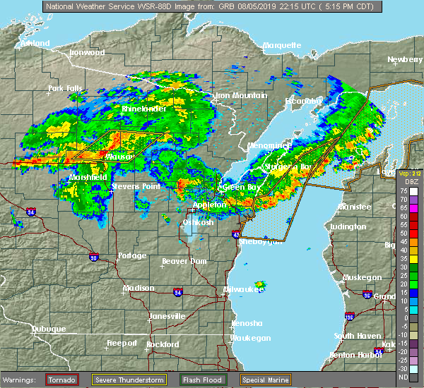 Radar Image for Severe Thunderstorms near Summit Lake, WI at 8/5/2019 5:20 PM CDT