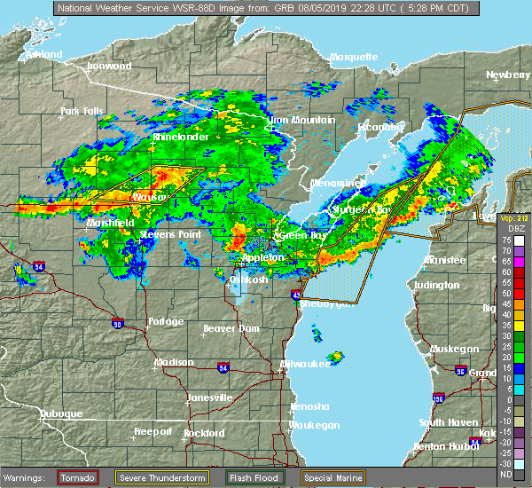Radar Image for Severe Thunderstorms near Summit Lake, WI at 8/5/2019 5:33 PM CDT