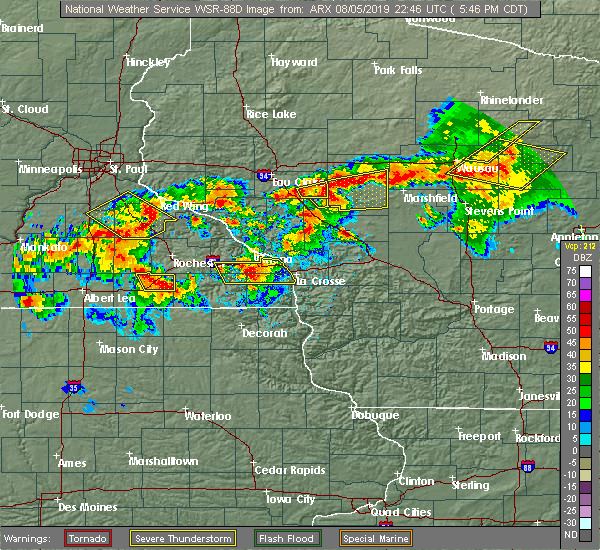 Radar Image for Severe Thunderstorms near Fairchild, WI at 8/5/2019 5:53 PM CDT