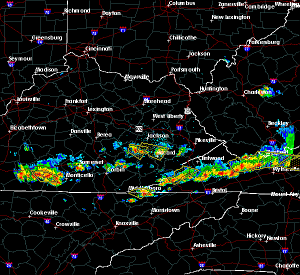 Radar Image for Severe Thunderstorms near Booneville, KY at 6/21/2015 5:27 PM EDT