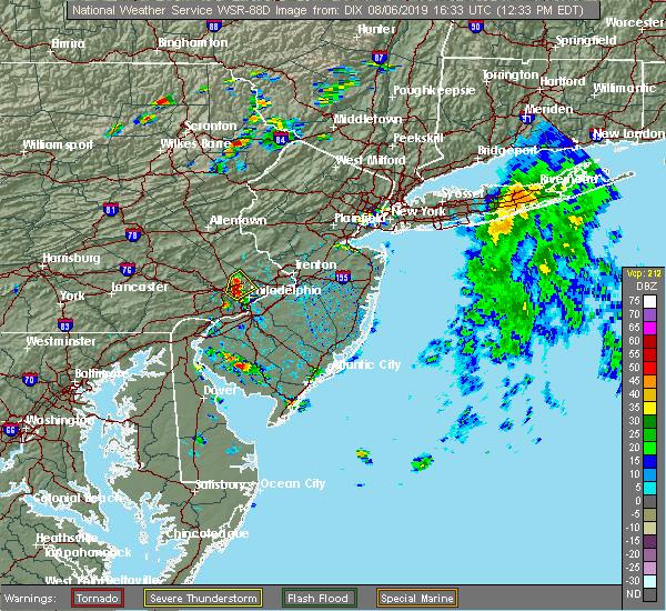 Radar Image for Severe Thunderstorms near Horsham, PA at 8/6/2019 12:39 PM EDT