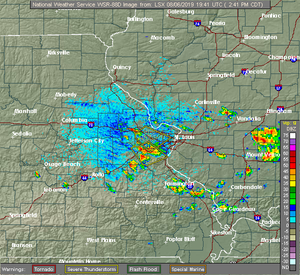 Radar Image for Severe Thunderstorms near Potosi, MO at 8/6/2019 2:47 PM CDT