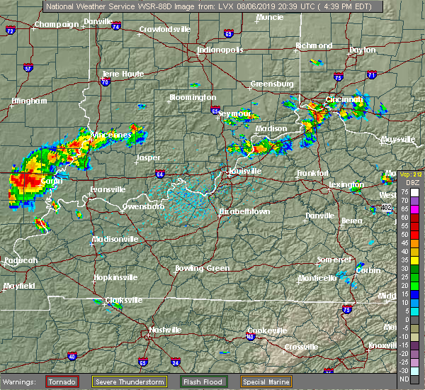 Radar Image for Severe Thunderstorms near Bedford, KY at 8/6/2019 4:45 PM EDT