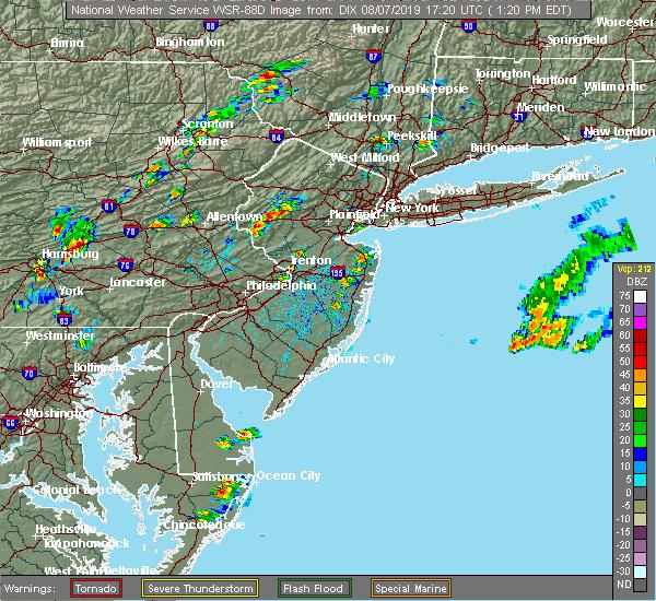 Radar Image for Severe Thunderstorms near Califon, NJ at 8/7/2019 1:25 PM EDT