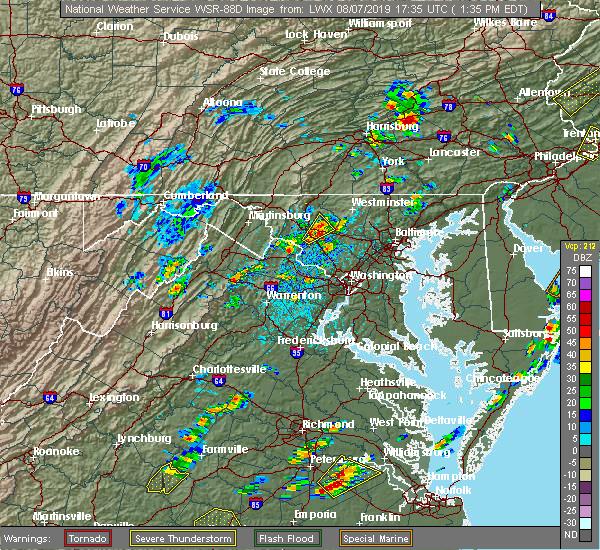 Radar Image for Severe Thunderstorms near Shenandoah Retreat, VA at 8/7/2019 1:38 PM EDT