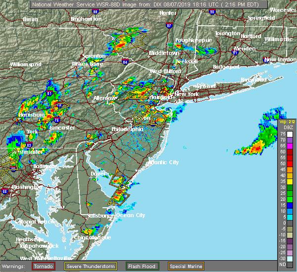 Radar Image for Severe Thunderstorms near Roselle Park, NJ at 8/7/2019 2:21 PM EDT