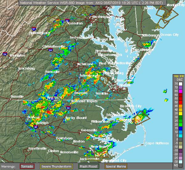 Radar Image for Severe Thunderstorms near Charles City, VA at 8/7/2019 2:31 PM EDT