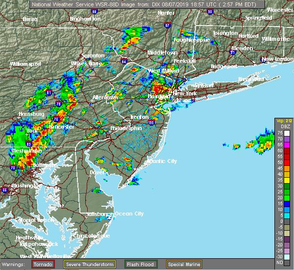 Radar Image for Severe Thunderstorms near Roselle Park, NJ at 8/7/2019 2:59 PM EDT