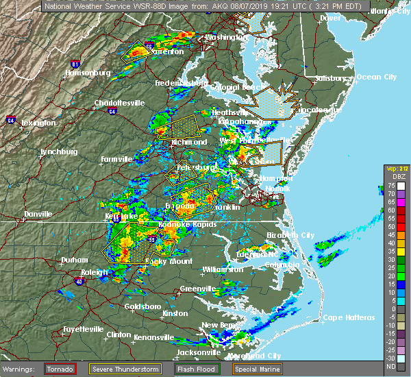 Radar Image for Severe Thunderstorms near Wakefield, VA at 8/7/2019 3:23 PM EDT