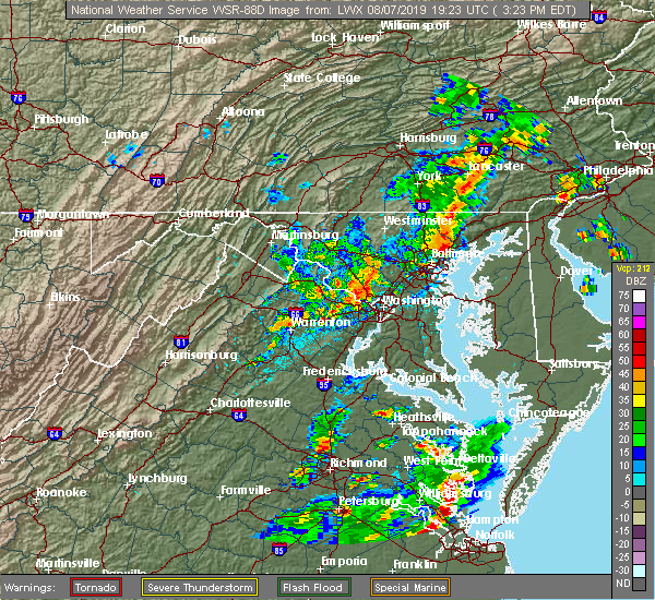 Radar Image for Severe Thunderstorms near Vienna, VA at 8/7/2019 3:28 PM EDT