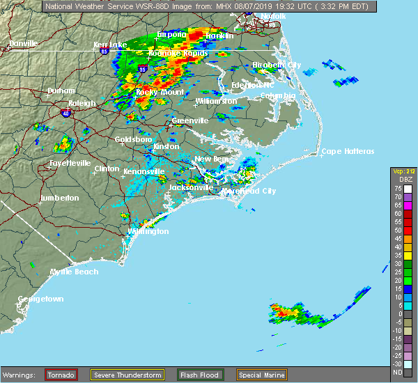 Radar Image for Severe Thunderstorms near Surf City, NC at 8/7/2019 3:40 PM EDT