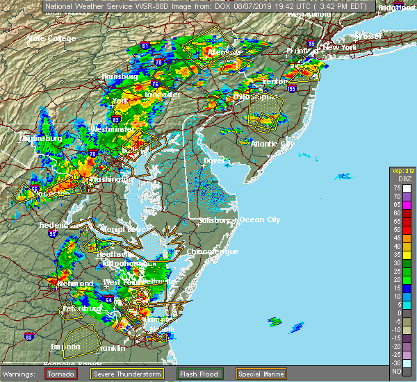 Radar Image for Severe Thunderstorms near Essex, MD at 8/7/2019 3:47 PM EDT
