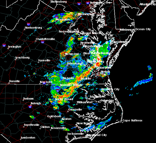 Radar Image for Severe Thunderstorms near Newport News, VA at 8/7/2019 3:49 PM EDT