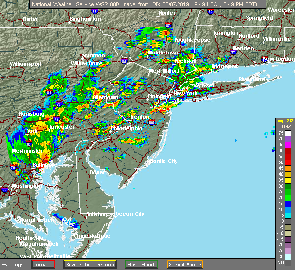 Radar Image for Severe Thunderstorms near Burlington, NJ at 8/7/2019 3:54 PM EDT