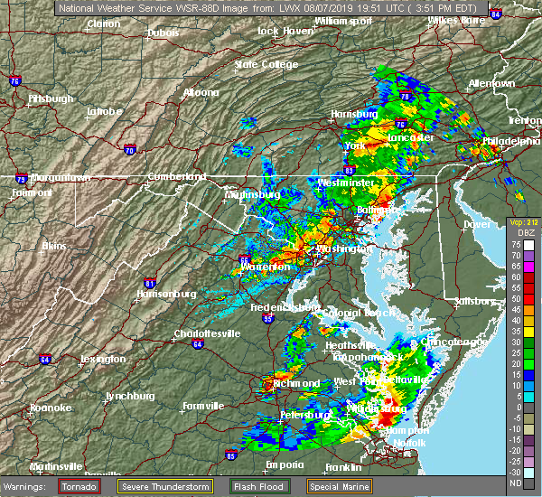 Radar Image for Severe Thunderstorms near Lanham, MD at 8/7/2019 3:56 PM EDT