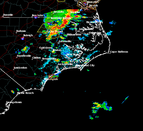Radar Image for Severe Thunderstorms near Surf City, NC at 8/7/2019 3:58 PM EDT