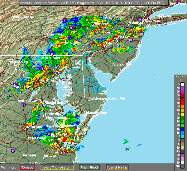 Radar Image for Severe Thunderstorms near Bowleys Quarters, MD at 8/7/2019 4:03 PM EDT