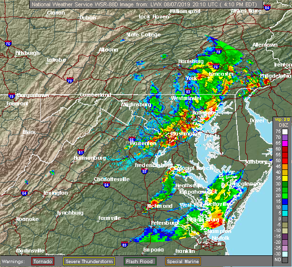 Radar Image for Severe Thunderstorms near Temple Hills, MD at 8/7/2019 4:15 PM EDT