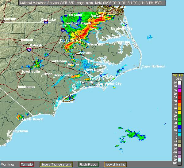 Radar Image for Severe Thunderstorms near Trenton, NC at 8/7/2019 4:17 PM EDT
