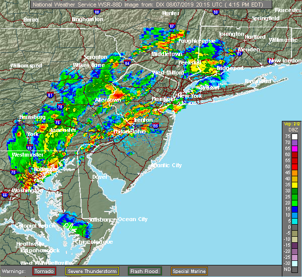 Radar Image for Severe Thunderstorms near Burlington, NJ at 8/7/2019 4:26 PM EDT