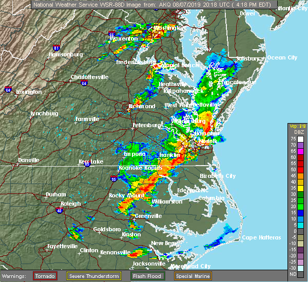 Radar Image for Severe Thunderstorms near Virginia Beach, VA at 8/7/2019 4:26 PM EDT