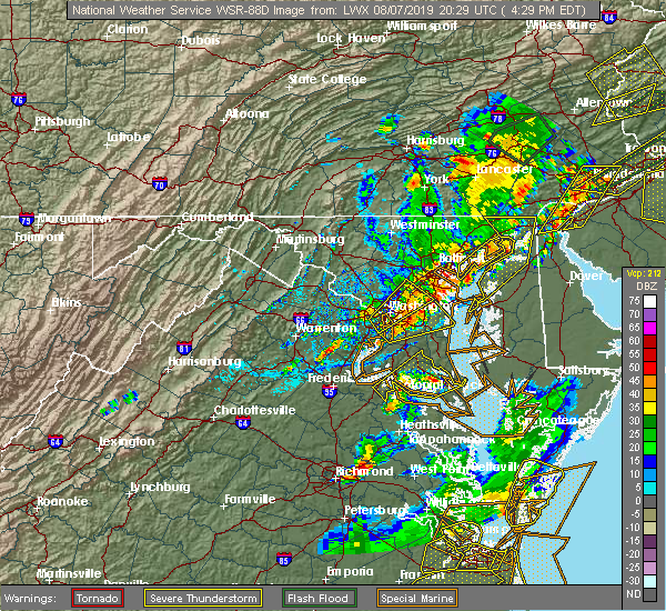 Radar Image for Severe Thunderstorms near St. Leonard, MD at 8/7/2019 4:33 PM EDT