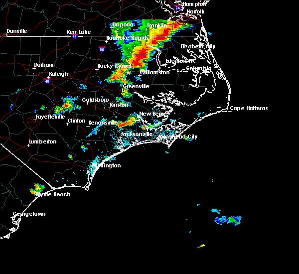 Radar Image for Severe Thunderstorms near Trenton, NC at 8/7/2019 4:34 PM EDT