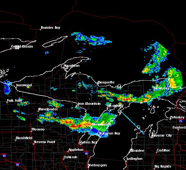 Radar Image for Severe Thunderstorms near Manistique, MI at 8/7/2019 4:35 PM EDT