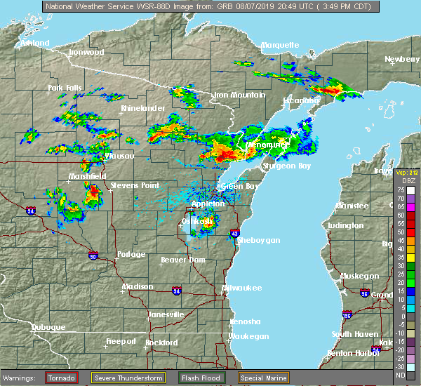 Radar Image for Severe Thunderstorms near Abrams, WI at 8/7/2019 3:55 PM CDT