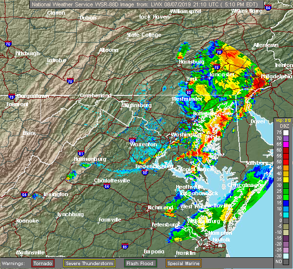 Radar Image for Severe Thunderstorms near Highland Beach, MD at 8/7/2019 5:12 PM EDT