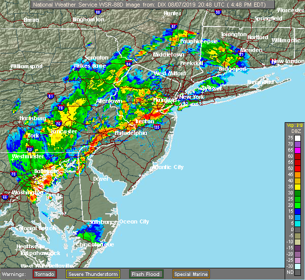 Radar Image for Severe Thunderstorms near Roebling, NJ at 8/7/2019 5:19 PM EDT