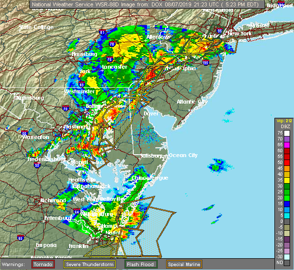 Radar Image for Severe Thunderstorms near Kingstown, MD at 8/7/2019 5:29 PM EDT