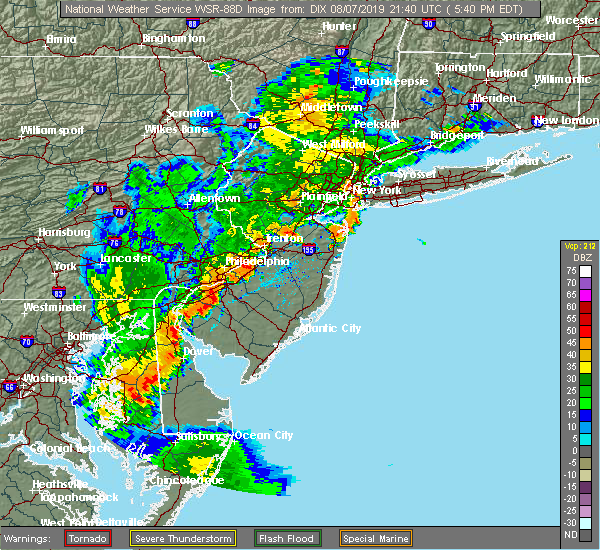 Radar Image for Severe Thunderstorms near Roebling, NJ at 8/7/2019 6:01 PM EDT