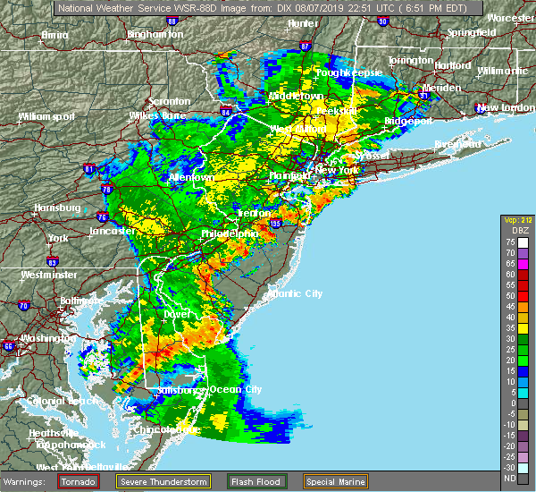 Radar Image for Severe Thunderstorms near Clayton, NJ at 8/7/2019 6:55 PM EDT