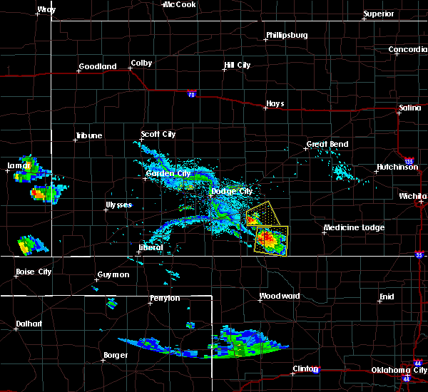 Radar Image for Severe Thunderstorms near Mullinville, KS at 8/7/2019 7:30 PM CDT