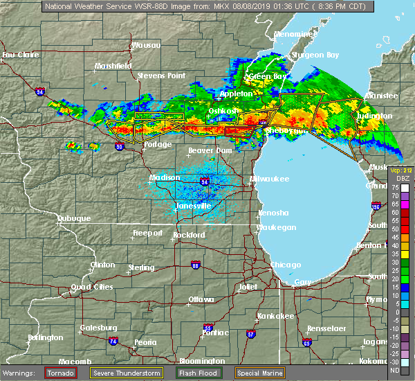 Radar Image for Severe Thunderstorms near Endeavor, WI at 8/7/2019 8:38 PM CDT