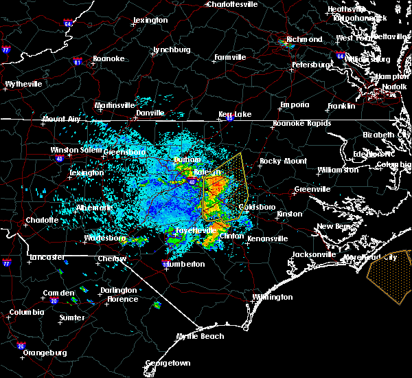 Radar Image for Severe Thunderstorms near Wilson, NC at 8/8/2019 1:11 AM EDT