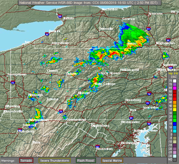 Radar Image for Severe Thunderstorms near Julian, PA at 8/8/2019 2:56 PM EDT