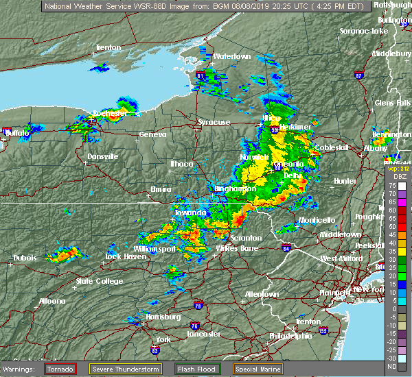 Radar Image for Severe Thunderstorms near Oakland, PA at 8/8/2019 4:38 PM EDT