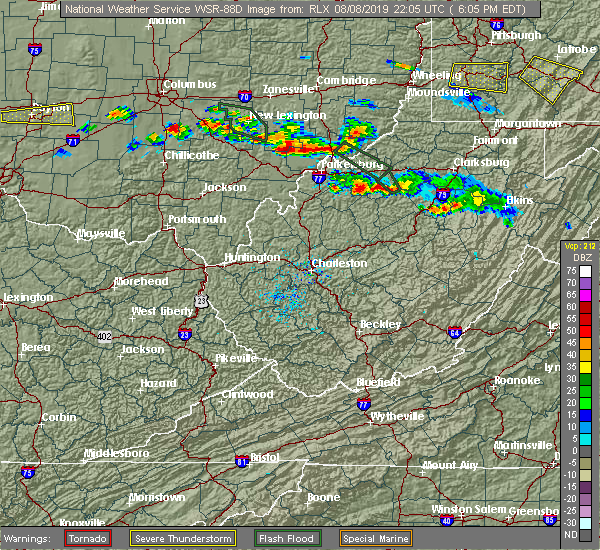 Radar Image for Severe Thunderstorms near Parkersburg, WV at 8/8/2019 6:08 PM EDT